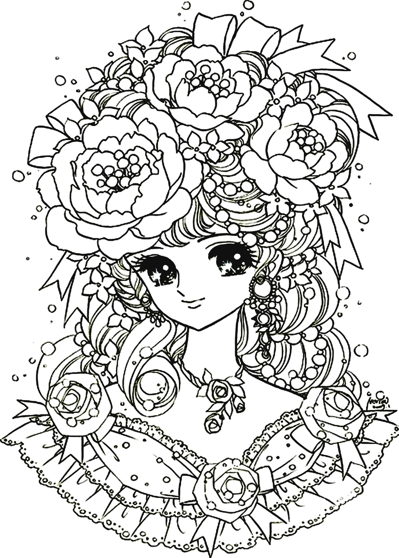coloring pages for adults with dementia :  Coloring Adult Back To Childhood Manga Girl Flowers